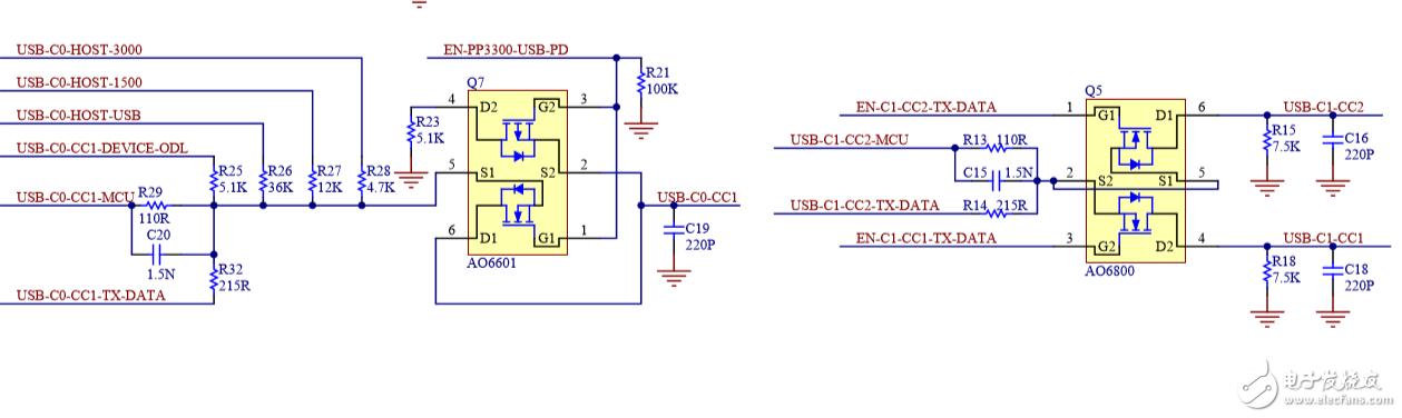 TypeC信号检测电路中MOS管的作用是什么