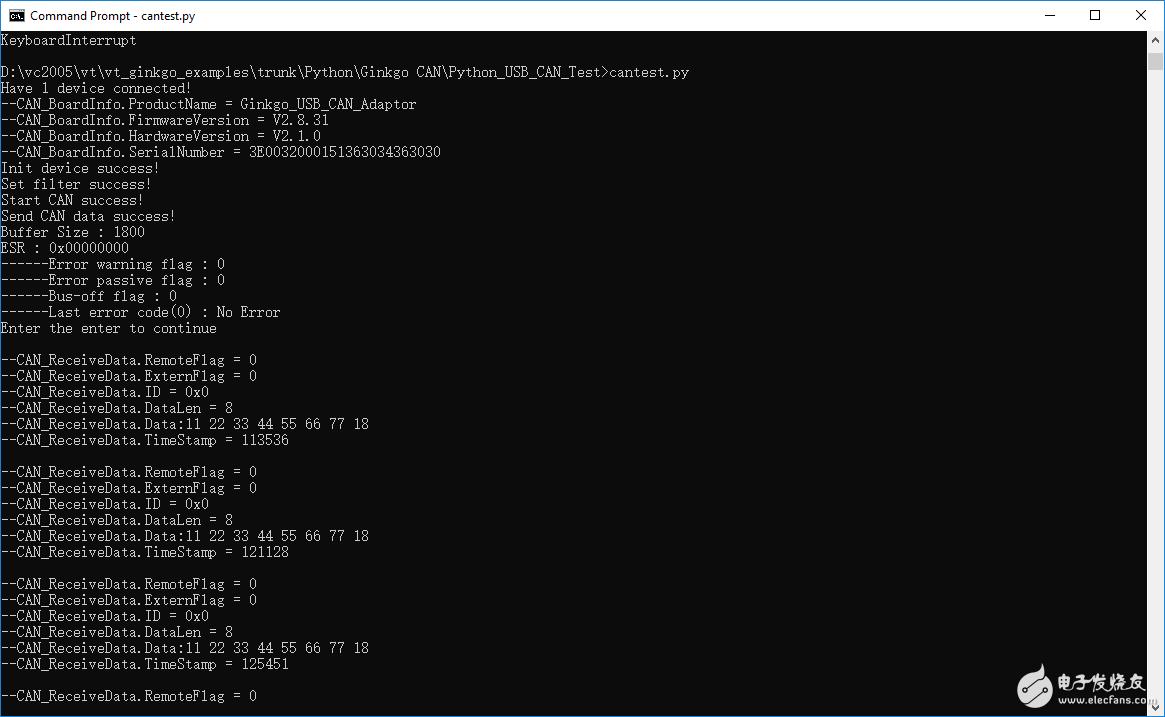 如何用Python Ginkgo USB-CAN发送和接收数据