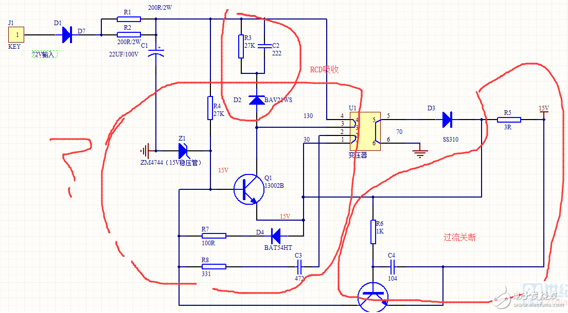 这个开关电源的变压器是怎么设计的?