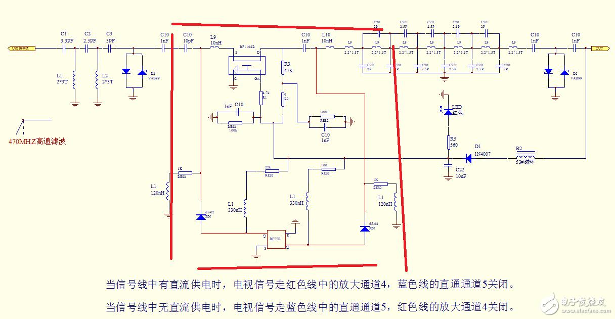 这个电路图红线部分怎么看,输入为室外天线,输出为电视机顶盒
