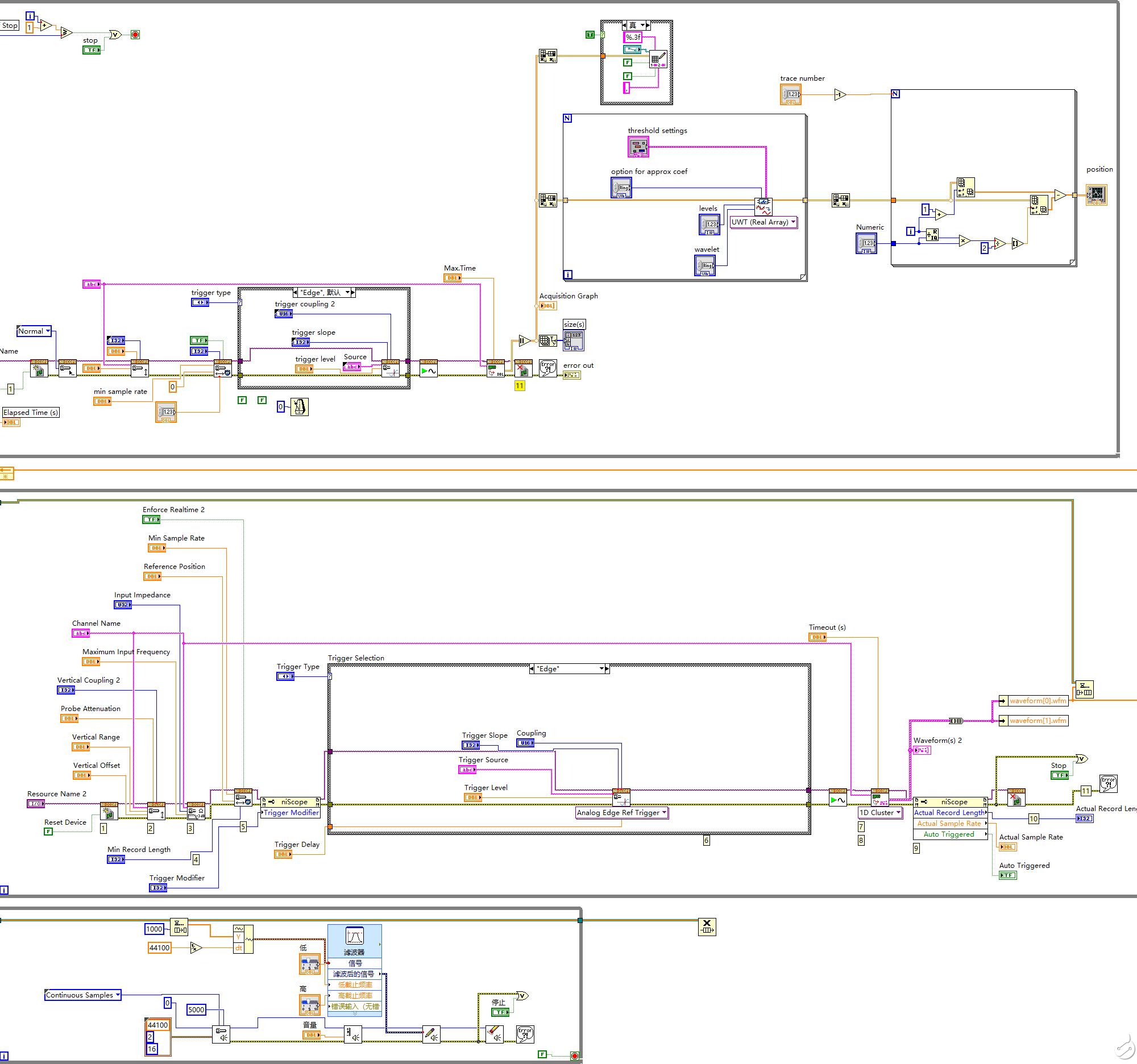 如何在labview中同时运行两个while循环程序?两个程序共用一个采集卡