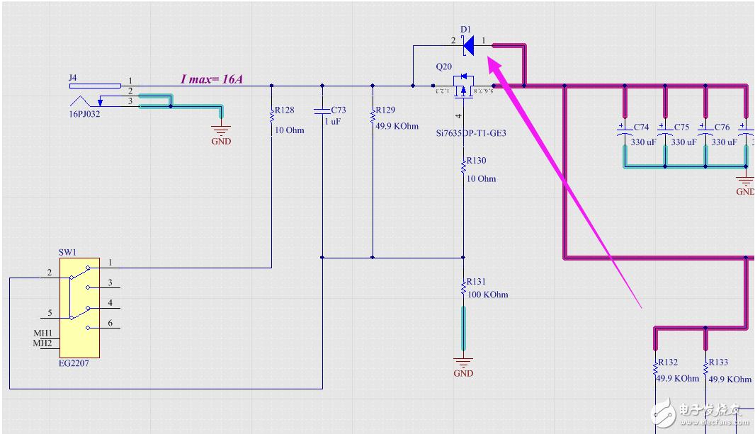请问电源入口处做开关的MOS管两端并联肖特基二极管有什么用?