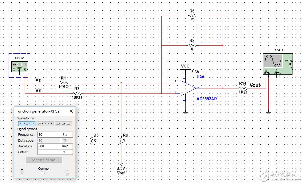 R2=R4, R5=R6, 使Vout 的范围 是0-2.5V ,恳请问如何配置电阻