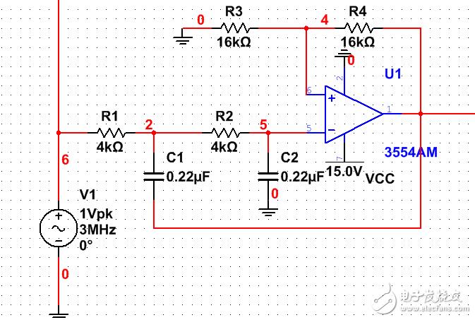 设计的二阶低通滤波器,为啥输入信号频率大于4MHZ后出现仿真错误