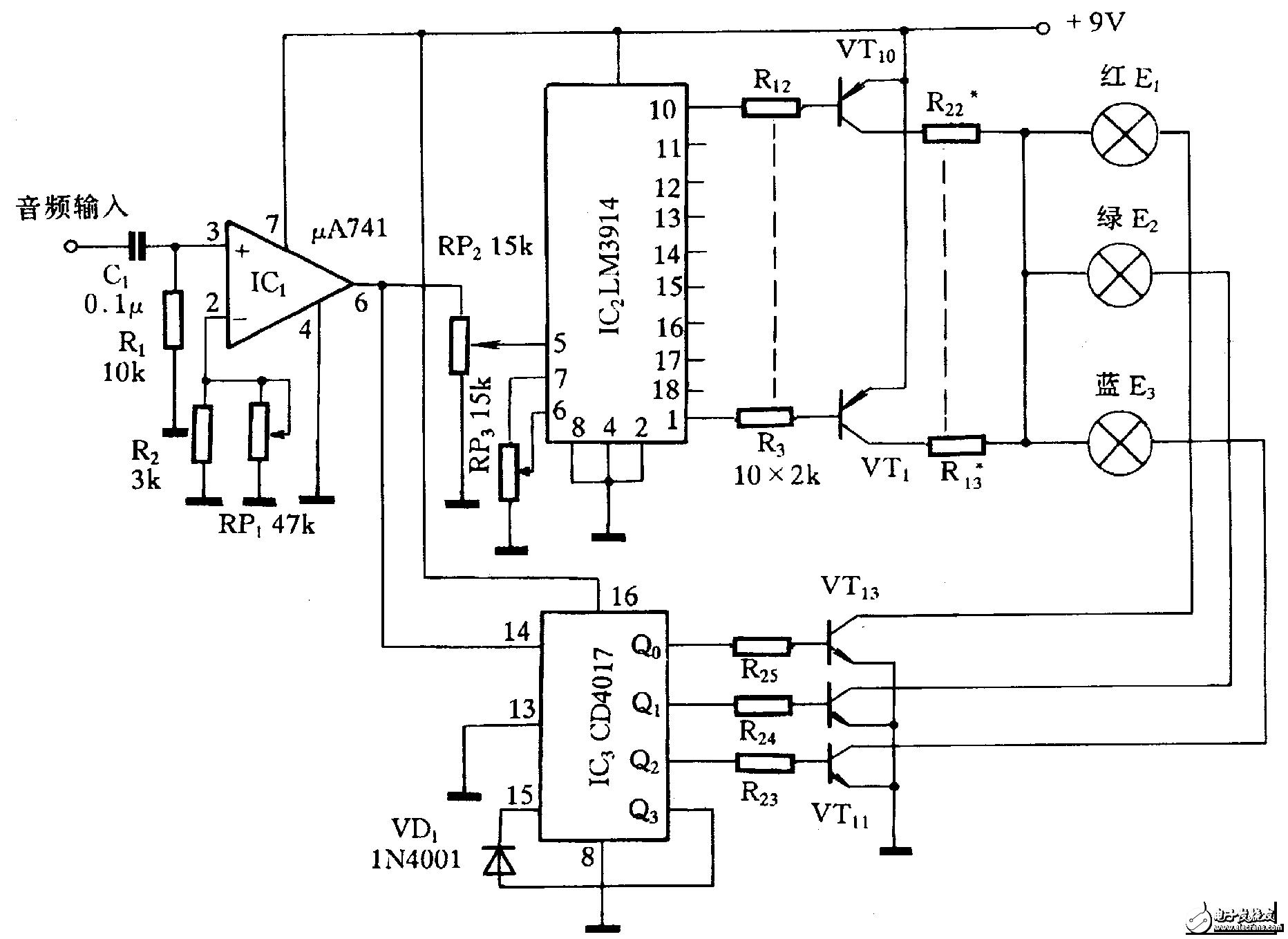 音频变色灯控制器,UA741怎么工作的?