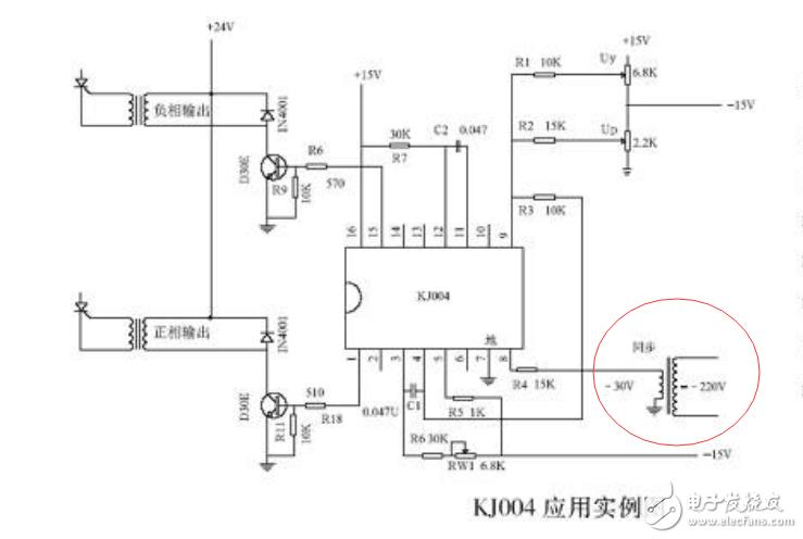 KJ004可控硅移相电路中同步变压器怎么选型/设计?