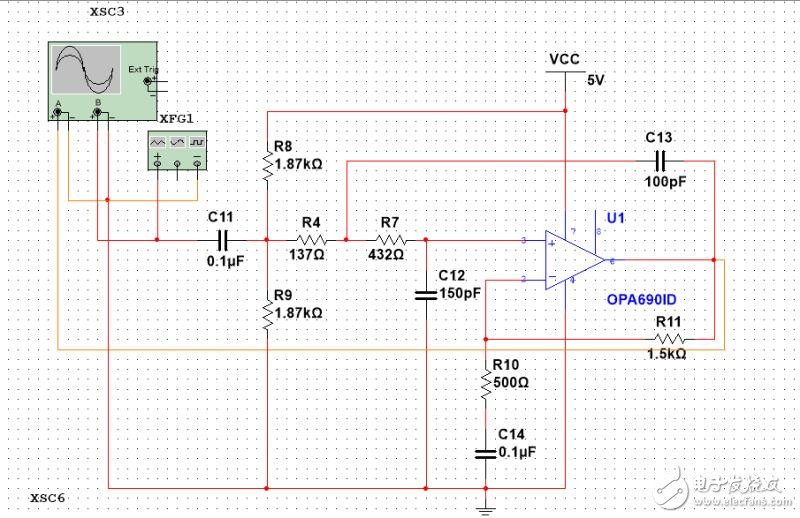 请问怎么把振荡电路,放大电路,滤波电路连接成一个电路?