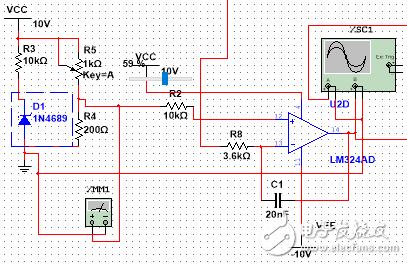 请问如何用LM324产生输出频率5-10kHz可调的三角波时,让输出电压幅度峰峰值为3V