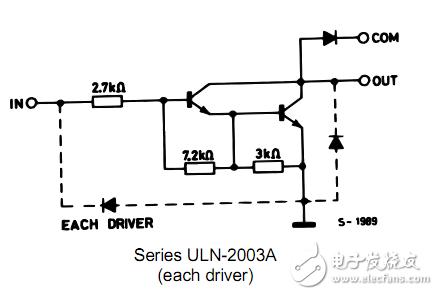 问个笨问题,uln2003达林顿管com可以接电源,但是有个二极管,这样电流是不是流不出啊?