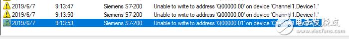 "警告西门子S7-200无法在设备""channel el1. device1""上写入地址""Q00000.01"""