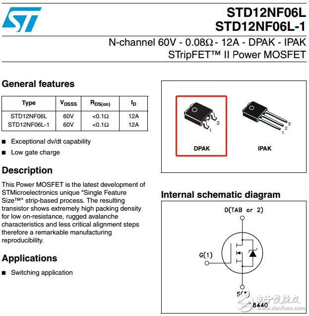 60V 12A    N溝道功率場效應(MOS)管 單管 STD12NF06LT4