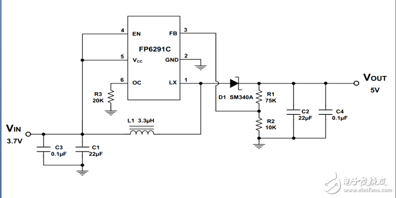手持风扇高效率升压芯片IC FP6291(5V,1A,5W升压IC,12V输出电压可调)
