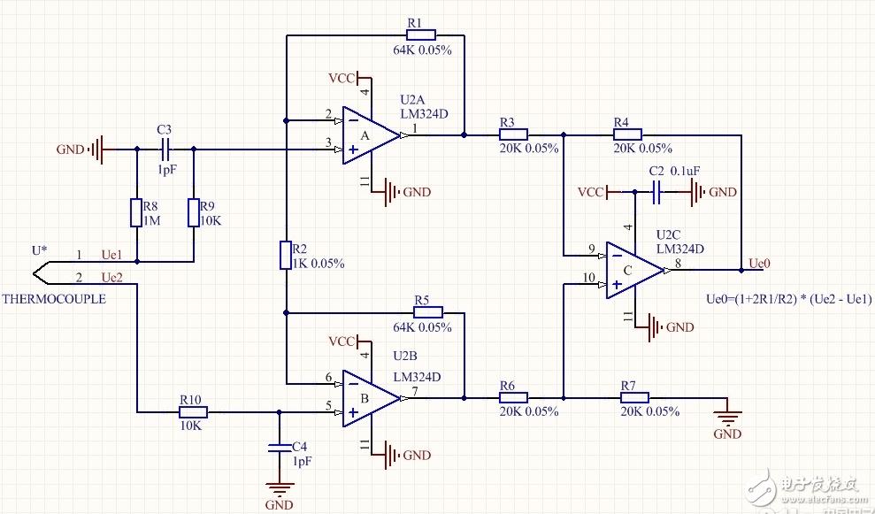 请问该K型热电偶的差分放大电路能否正常工作?