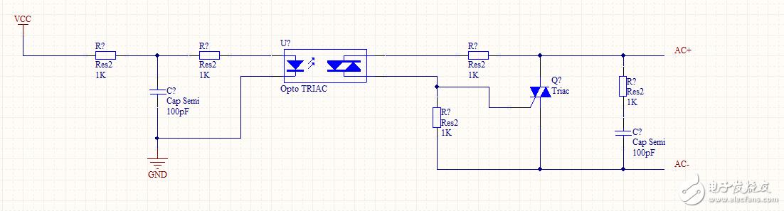 moc3041和可控硅bt136組成的過壓保護電路。moc3041的引腳1給15ma的電流