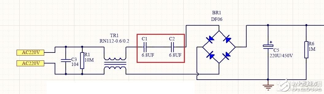 充电电路整流桥前端串联电容有什么作用?