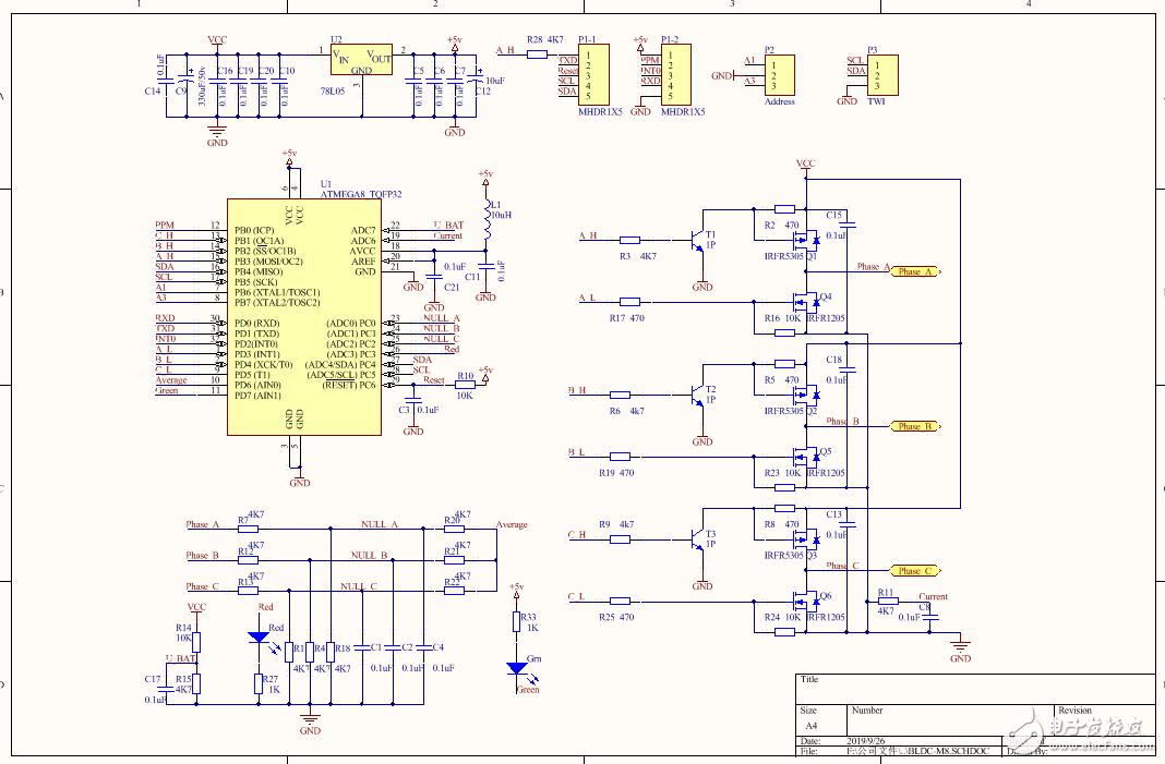 一款開源的無刷直流電機驅動板(原理圖 PCB  源代碼)