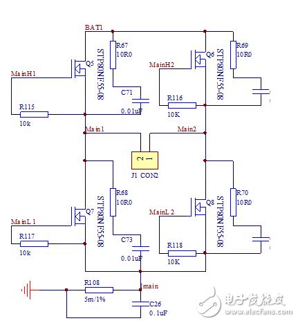 直流电机驱动全桥电路中MOS管并联的电容和电阻有什么作用?