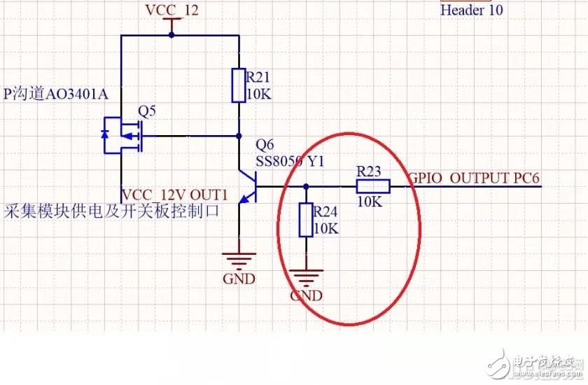 三極管控制MOS管通斷的電路