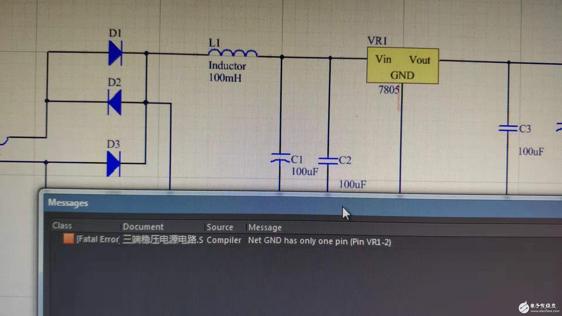 编译成PCB工程时提示 net GND has only pin
