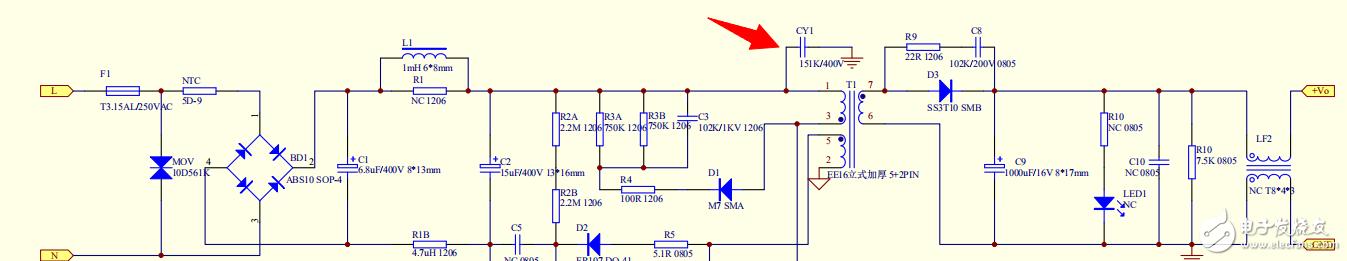 CY1放在这里是什么作用? 是不是连接模拟地跟信号地?