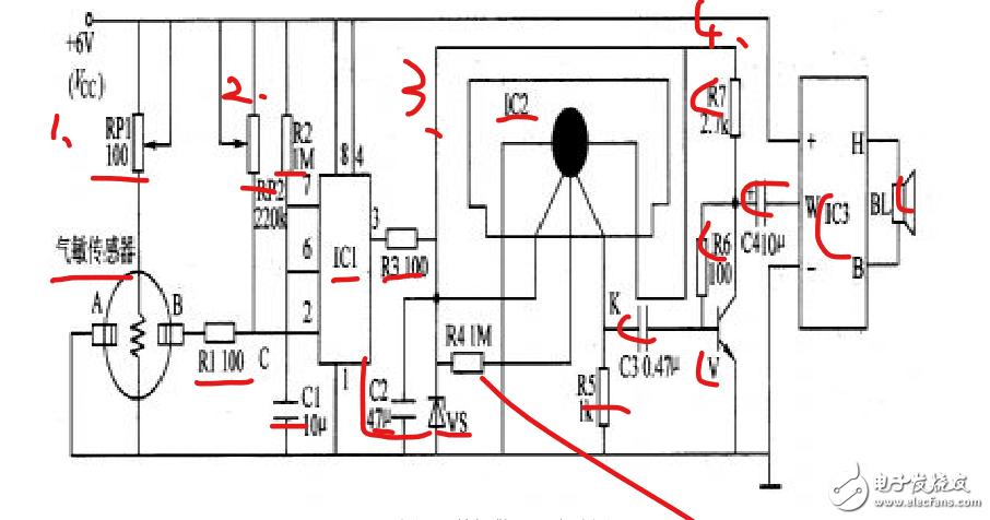 在原理图里面怎么画ic2和气敏传感器呢?