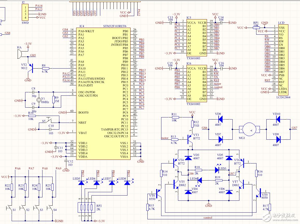 STM32 TXS0108E電平轉換3.3V轉5V驅動LCD12684(5V)電平轉換不了???