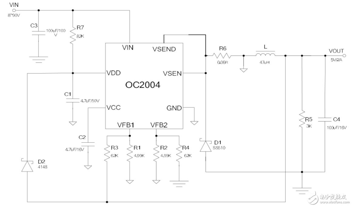 超大电流100V/5A定位器专用电源驱动--OC2004替代MP9486参考方案