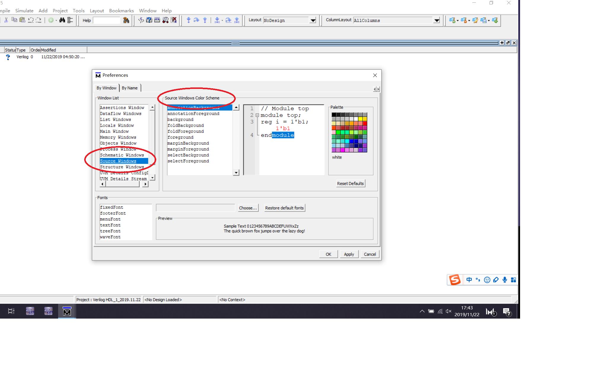 ModelSim SE-64 10.5中文字显示乱码,情况在软件中哪里进行设置?
