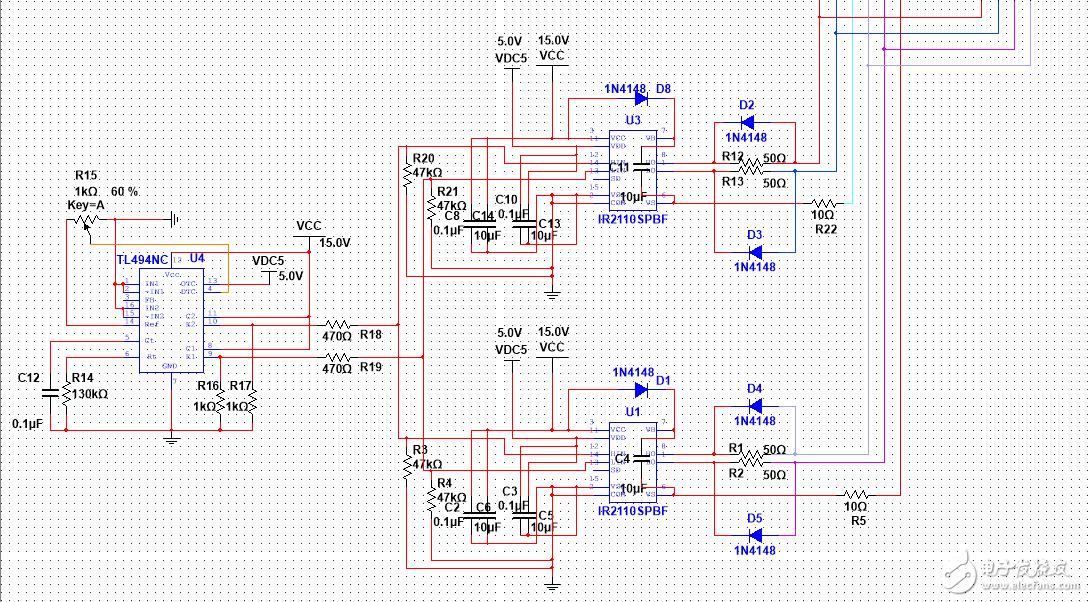 逆变电路,加上直流电源后,为什么IR2110的高端口输出波形异常?