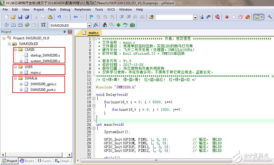 【深入浅出Cortex M4-SWM320 第六章】跑马灯与启动文件