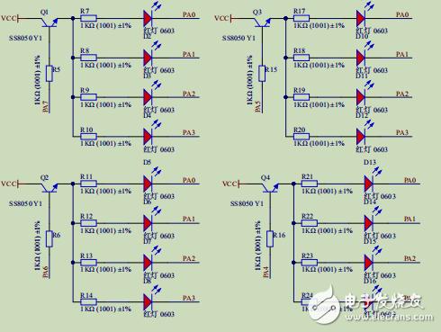 八个IO口控制16个led显示