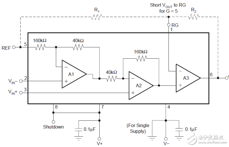 方案分享:单电源供电的差分运算放大器电路