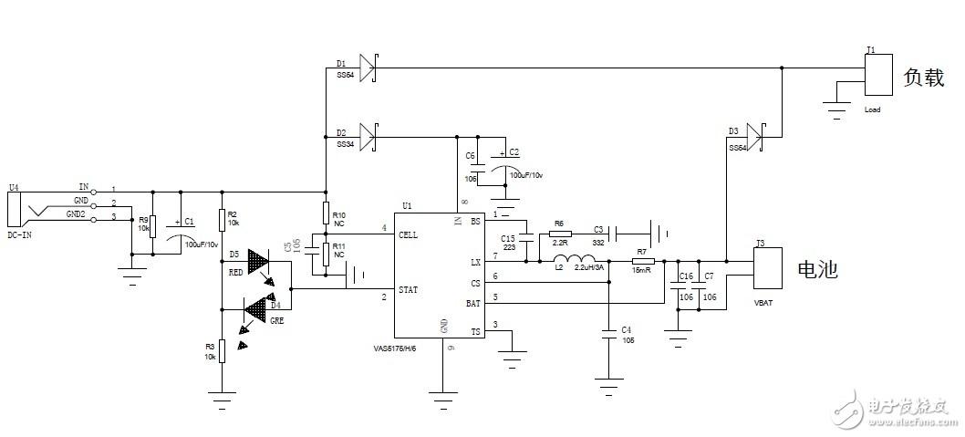 VAS5175/VAS5176多节锂电充电管理IC加路径管理应用电路