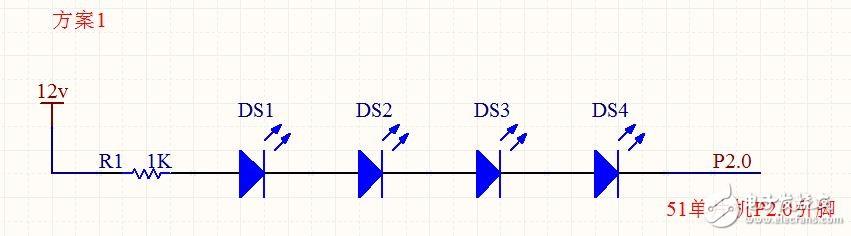 51单片机控制4个串联的贴片LED,大家帮我看看方案是否可行