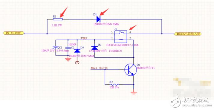 請問圖示電路中的繼電器以及并聯在上面的二極管和電阻有什么作用?