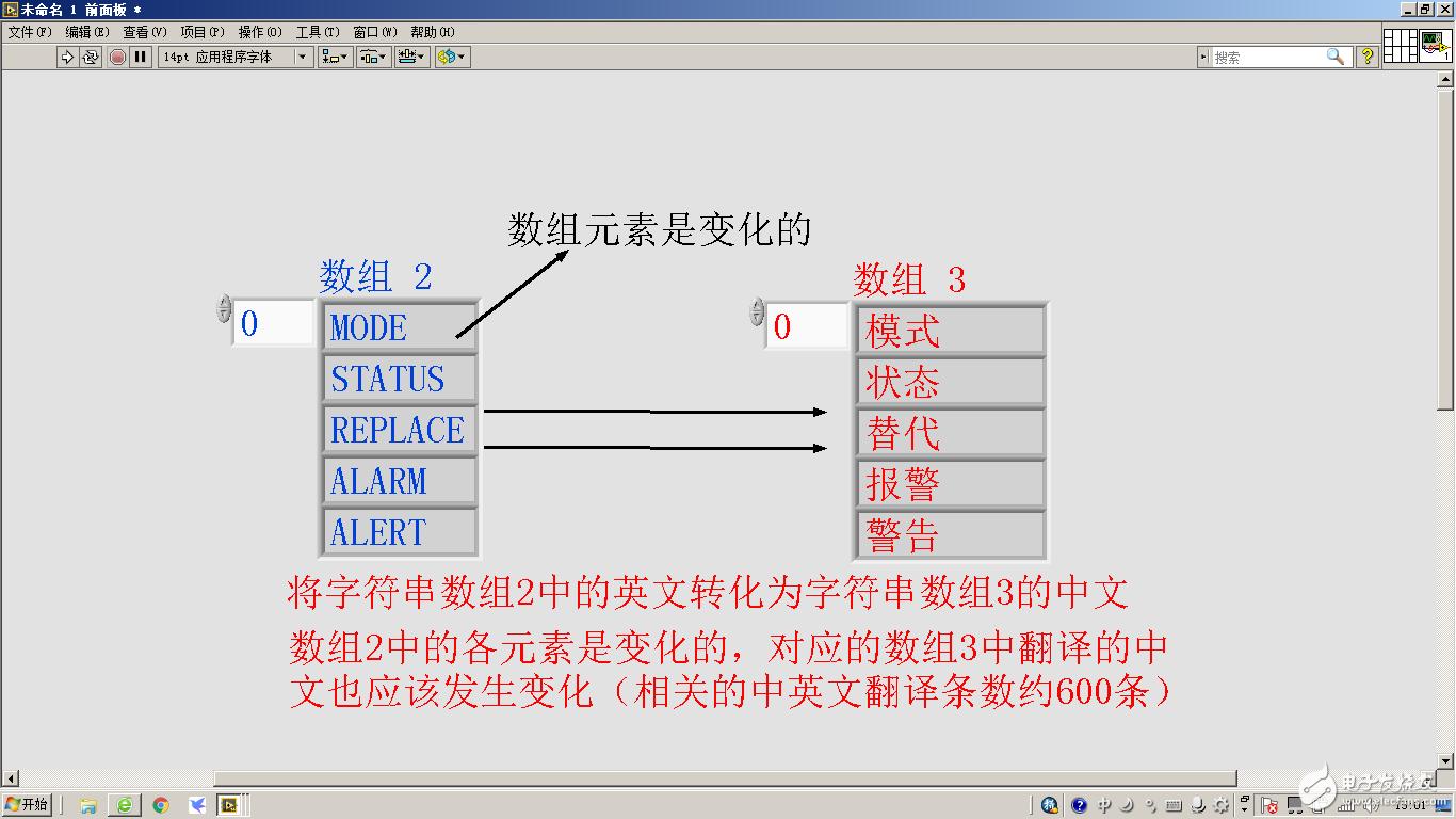 labview如何将字符串数组元素的英文转化为字符串数组中文显示,字符串数组各元素值是变化的