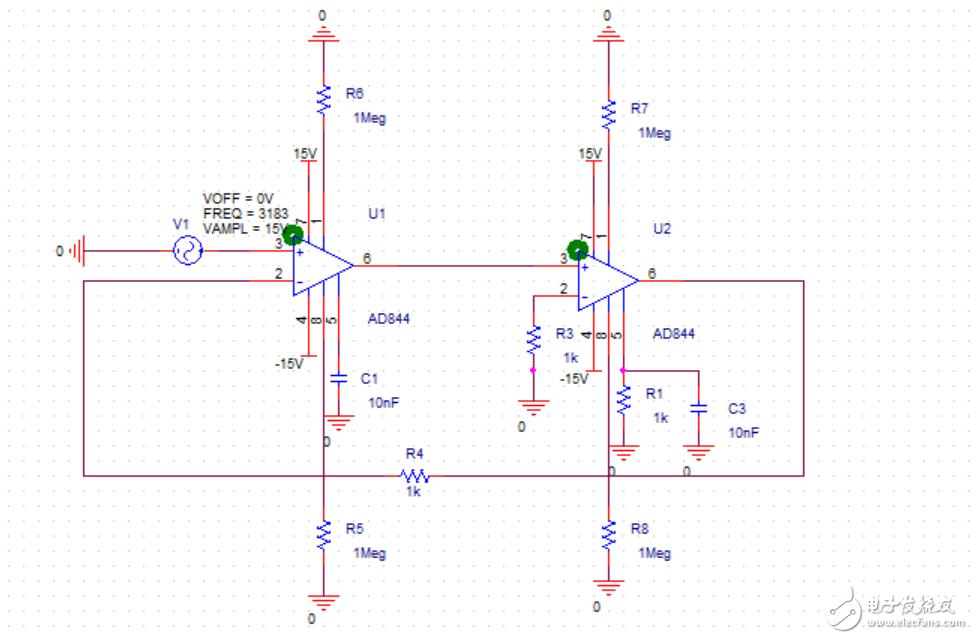如何用AD844運算放大器完成雙二階濾波器的Pspice仿真