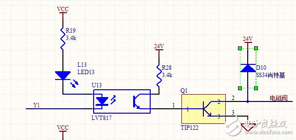 三极管电路控制电磁阀,TIP122管子导通后发热异常?