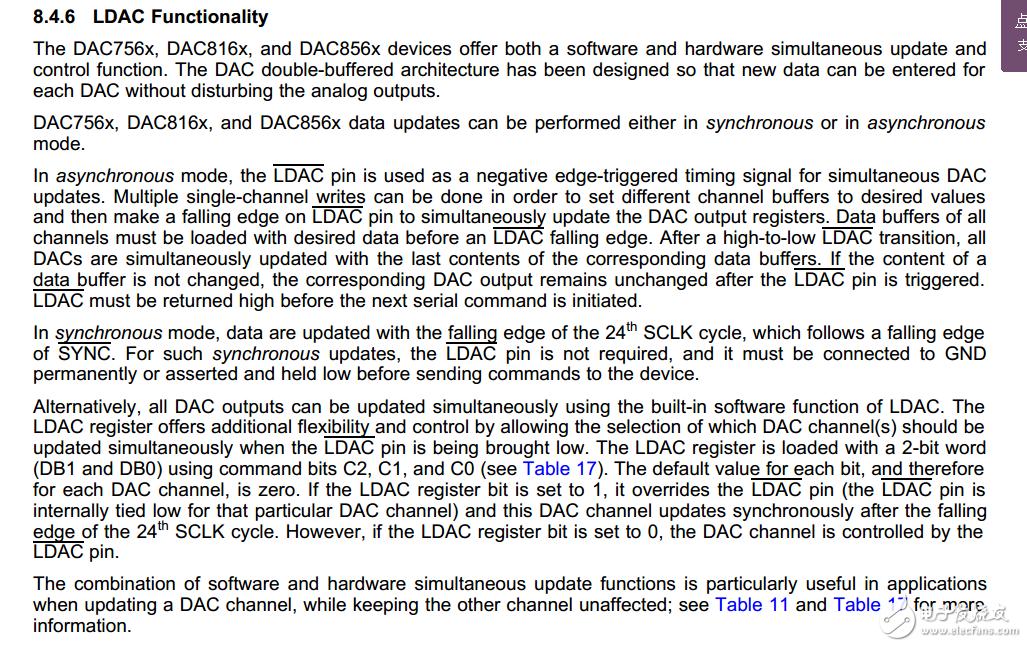 LDAC引脚在手册上同步和异步的接法解释?