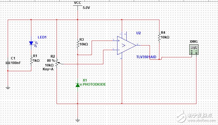 光电二极管检测电路中比较器不工作的问题
