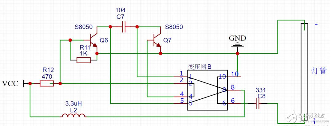 為什么當驅動電路電壓低于6v的時候,兩頭燈管會發紅光?