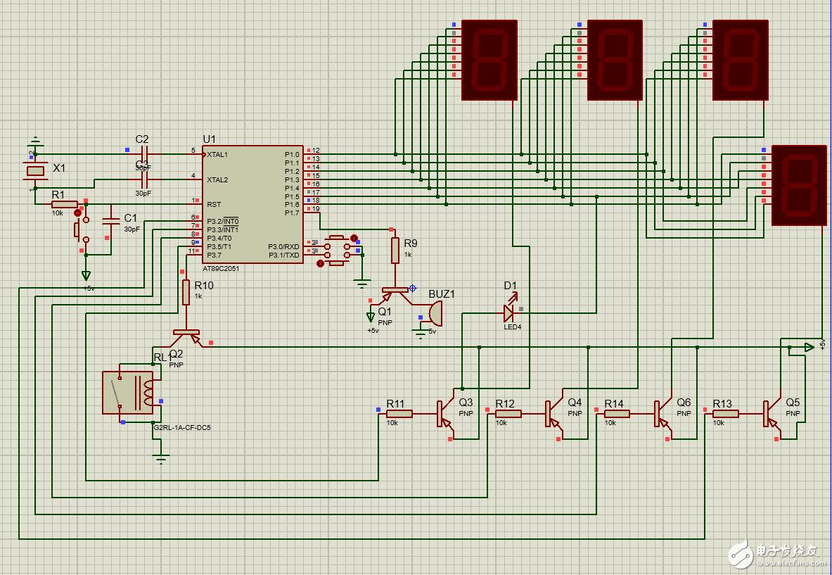 大佬们请问一下基于AT89C2051定时器的设计电路