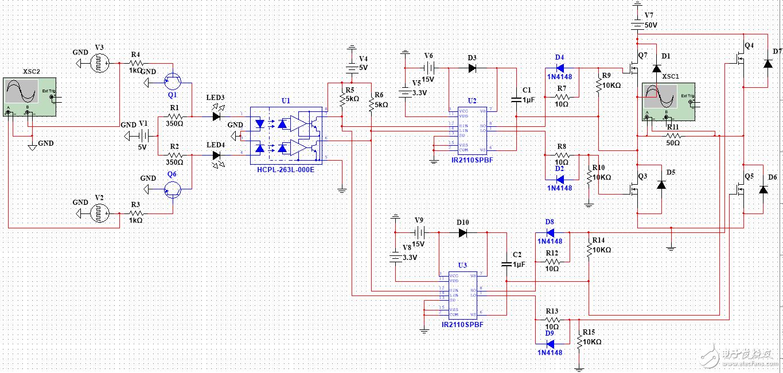 使用Multisim对基于IR2110的全桥DCDC变换器进行仿真的问题