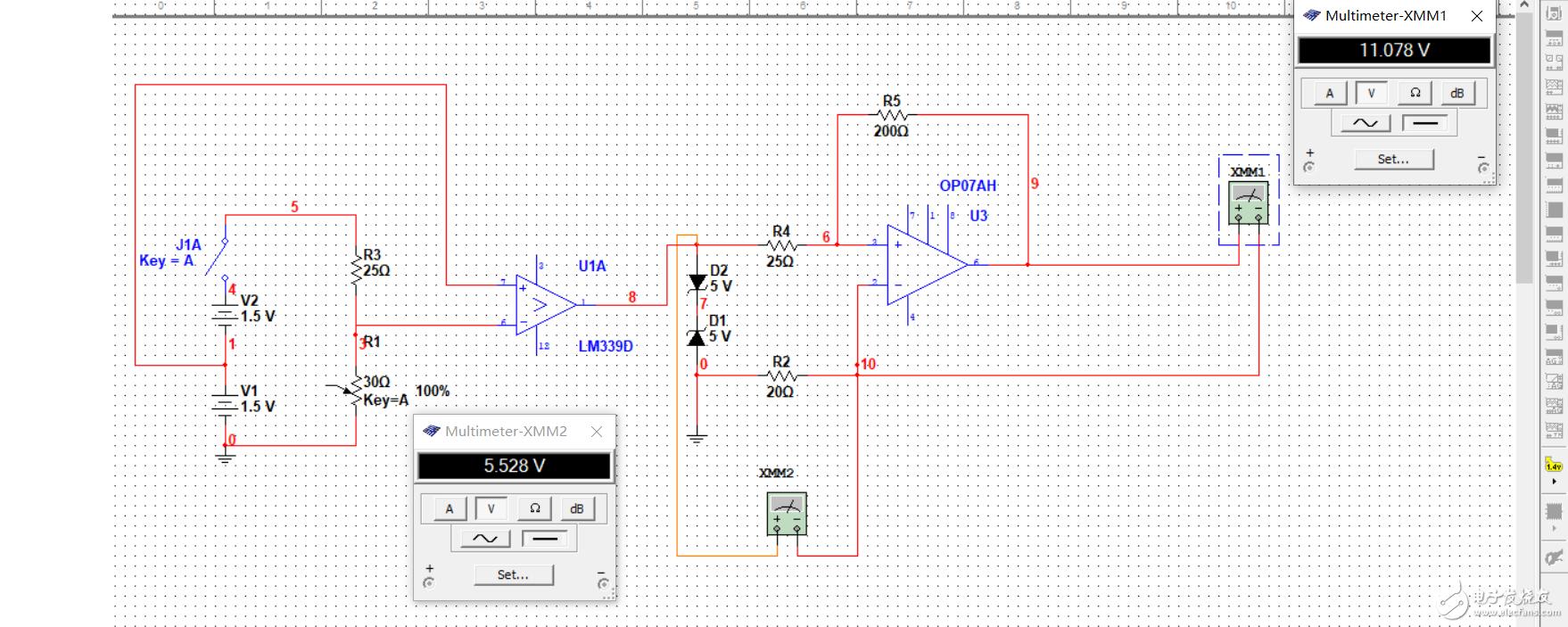 设计的很简单的感压力电路,但是multisim运行不了,帖子常看,会及时采纳的!!!可以有偿,非常感谢!!