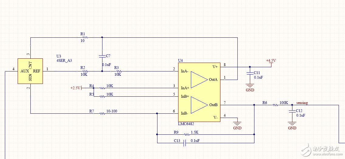 請問放大器OUTB端輸出電壓怎么算