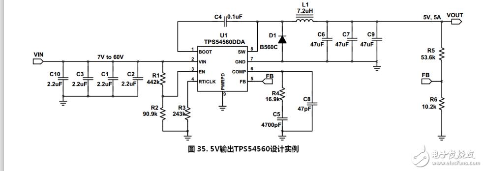 求教大神,麻烦问一下tps54560芯片手册中的这个电路图的过流保护电路,输出保护电路是由这张图里的哪些元器件组成