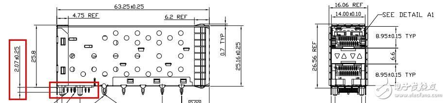 SFP+光模块笼子可以安装在板厚为2.4mm的PCB上