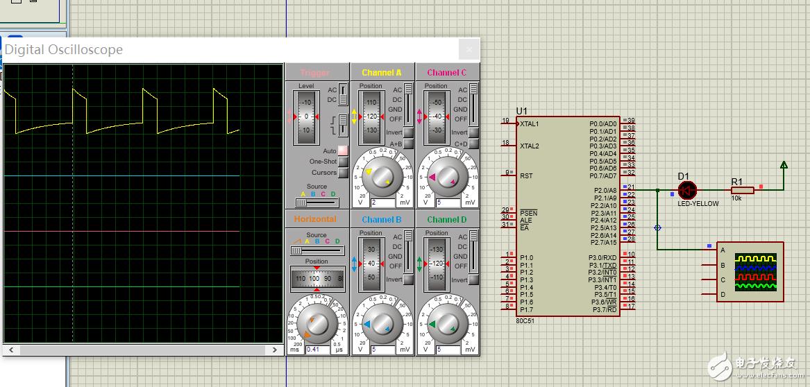 请问proteus中虚拟示波器波纹为什么显示这种?