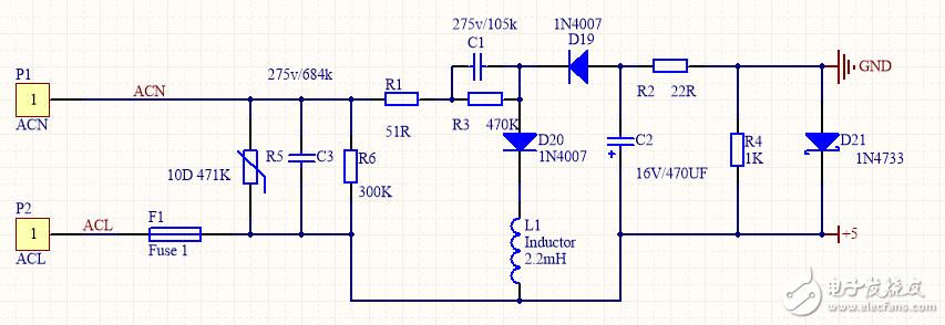 請問下面這個220V降壓成5V可行嗎?是什么原理呀?