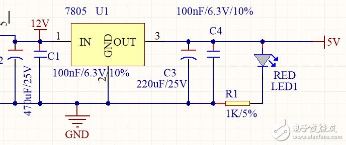 关于7805 降压后,出现很严重的电流噪声?